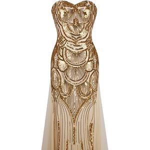 Dresses & Skirts - Gold beaded formal dress never worn